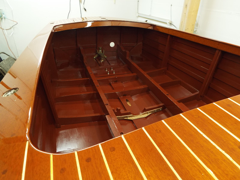 View towards the transom of the inside painting completed.