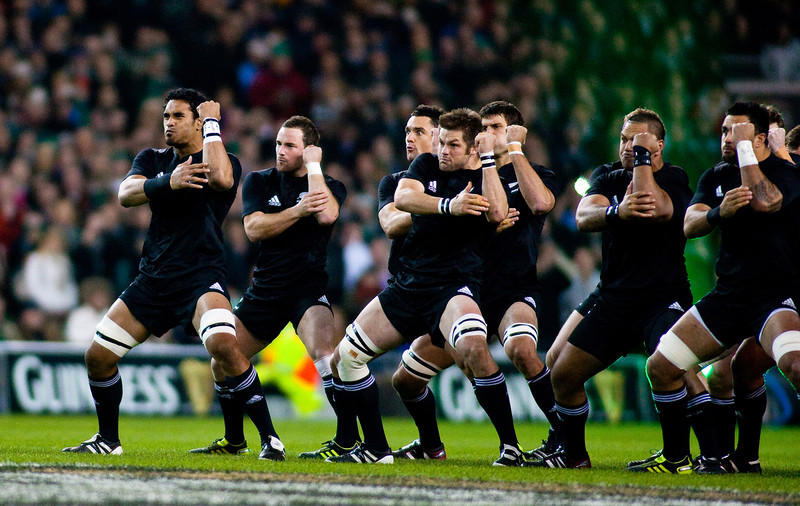 The New Zealand All Blacks doing their famous pre match haka before the International rugby test with Ireland against the New Zealand All Blacks at Aviva Stadium Dublin. November 2010