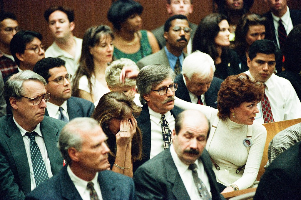 . This Oct. 3, 1995 file photo shows Ron Goldman\'s family react to the verdict. O.J. Simpson was found not guilty of murdering his ex-wife Nicole Brown Simpson and her friend Ron Goldman at the Criminal Courts Building in Los Angeles. (Los Angeles Daily News file photo)