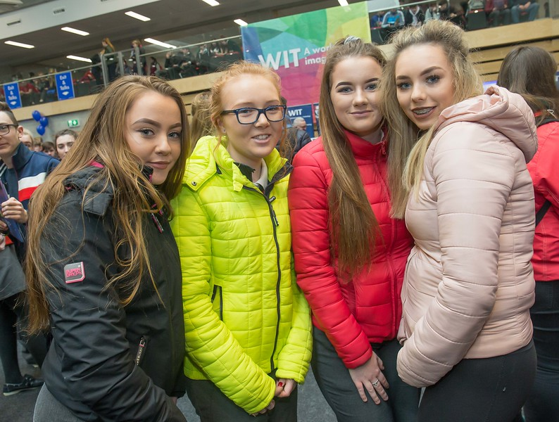 Amber Clarke, Caitlin Fennelly, Sophie Dunphy and Roisin Sweeney, Colaiste Cois Siuire, Mooncoin during the Waterford Institute of Technology Schools' Open Day at the WIT Arena. On Saturday, 20 January, WIT is running another open day, the #StudyatWIT Open Day which will have information available on all courses available across WIT's schools of Lifelong Learning, Humanities, Engineering, Science & Computing, Health Sciences, Business. Picture: Pat Moore