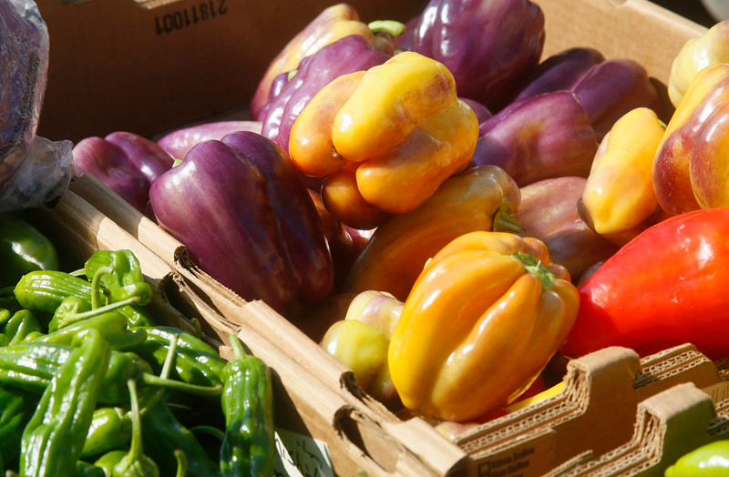 Shaun Walker — The Times-Standard  Bell peppers and other vegetables sit on display at the market.