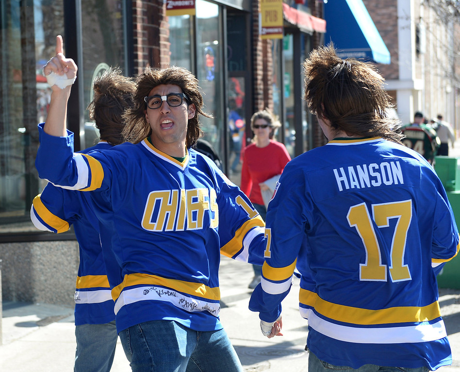 . The Hanson brothers taunted Avalanche fans in downtown St. Paul before the game Monday night. The Minnesota Wild hosted the Colorado Avalance at the Xcel Energy Center in St. Paul Monday night, April 21, 2014. (Photo by Karl Gehring/The Denver Post)