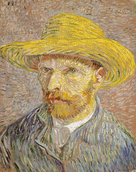 "Description of . ""Self Portrait with Straw Hat"" by Vincent Van Gogh: $80M-150M. Photo courtesy of Wikimedia Commons"
