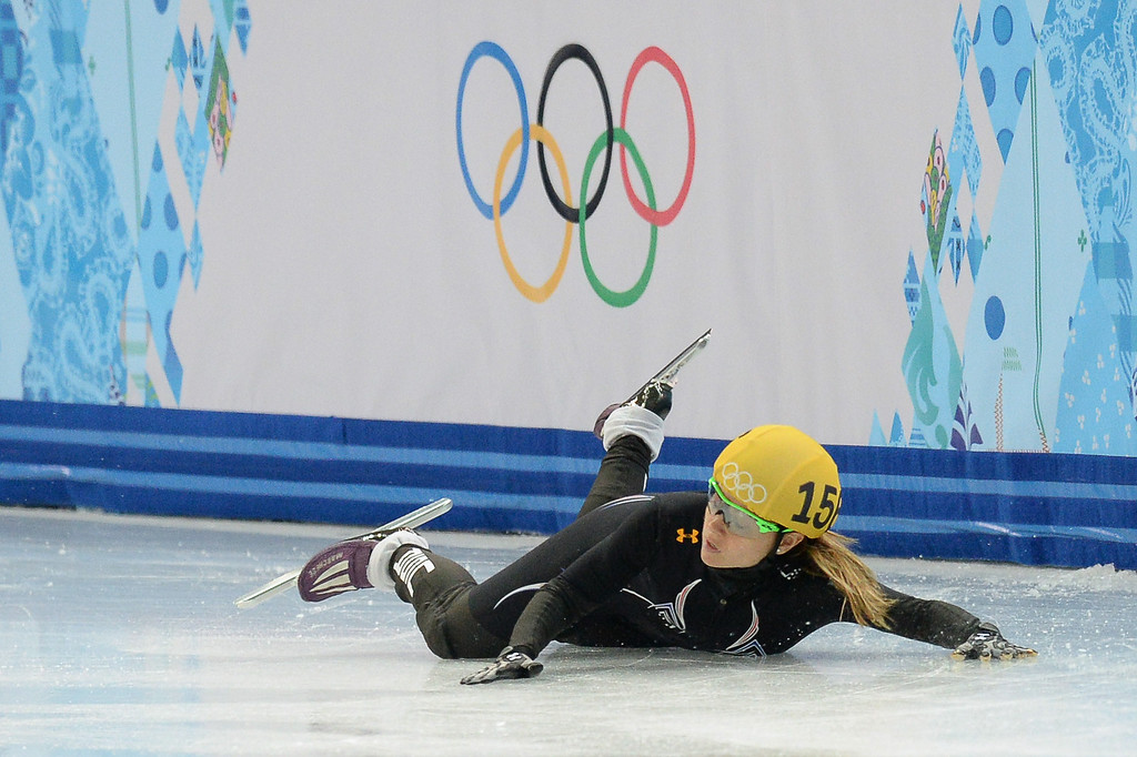 . US Jessica Smith falls as she competes in the Women\'s Short Track 500 m Heats at the Iceberg Skating Palace  YURI KADOBNOV/AFP/Getty Images