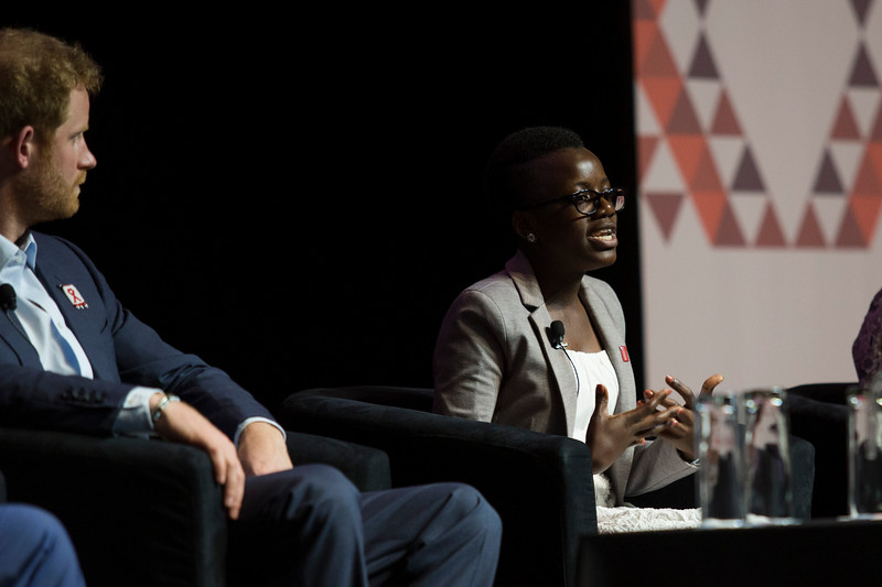21st International AIDS Conference (AIDS 2016), Durban, South Africa. Special Session (THSS01) Ending AIDS with the Voices of the Youth: How Stigma and Discrimination Affect Key Populations Loyce Maturu speaks with HRH Prince Harry listening, 21 July, 2016. Photo©International AIDS Society/Rogan Ward