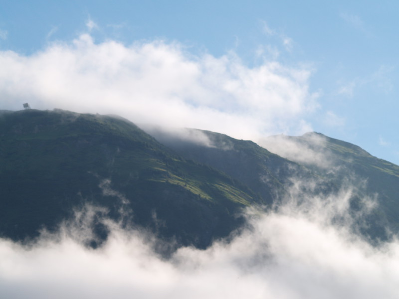 Mountains in the late August fog