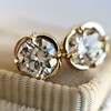 .74ctw Transitional Cut Diamond Earrings, Yellow Gold 12