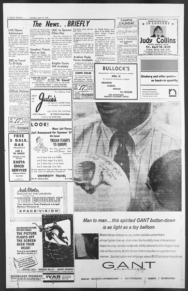 Daily Trojan, Vol. 58, No. 104, April 13, 1967