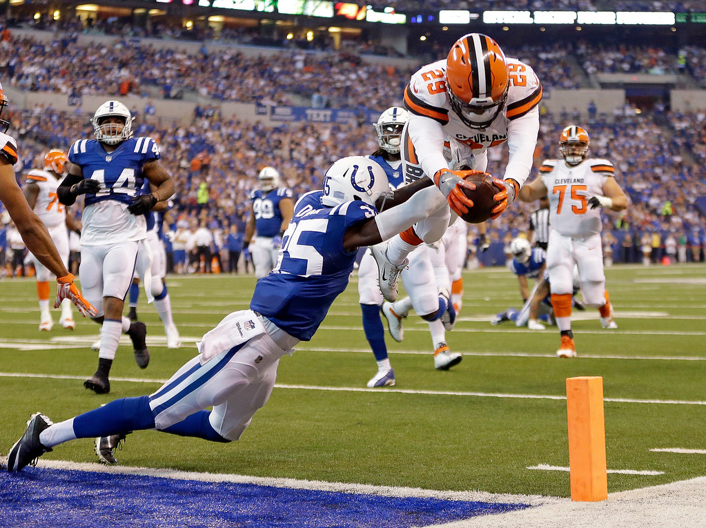 . Cleveland Browns running back Duke Johnson (29) dives over Indianapolis Colts defensive back Pierre Desir (35) for a touchdown during the first half of an NFL football game in Indianapolis, Sunday, Sept. 24, 2017. (AP Photo/AJ Mast)