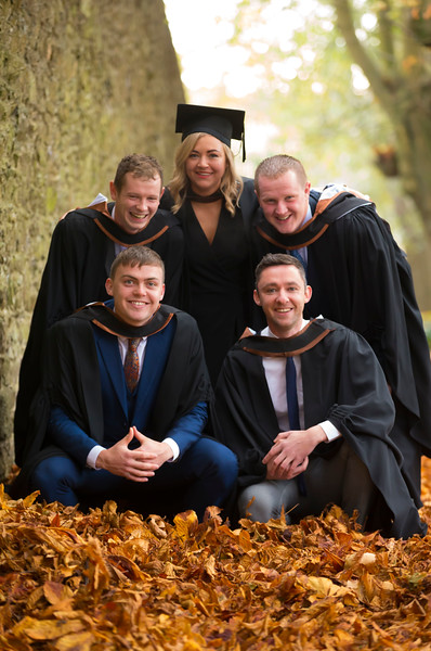 02/11/2018. Waterford Institute of Technology (WIT) Conferring Ceremonies 2018. Pictured are Niall Geoghegan Galway, Daniel Burns Waterford, Danny Murphy Cork, Hannah Mealy Kilkenny Castlecomer and Daniel Coughlan Mullinavat. Picture: Patrick Browne
