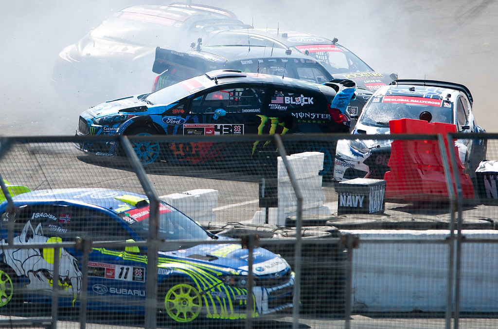 . A pileup collision in final round of the Ford RallyCross SuperCar during X Games Los Angeles at Irwindale Event Center on Sunday, August 4, 2013. Toomas Heikkinen won gold.  (SGVN/Staff photo by Watchara Phomicinda)