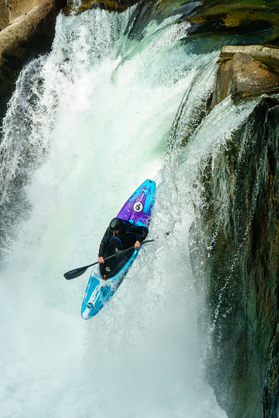 """Dan Warner on the """"Balls to the Wall"""" waterfall on the Cheakamus River near Whistler, BC."""