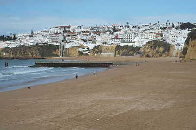 Albufeira, Algarve : along the beach on a stormy Sunday morning