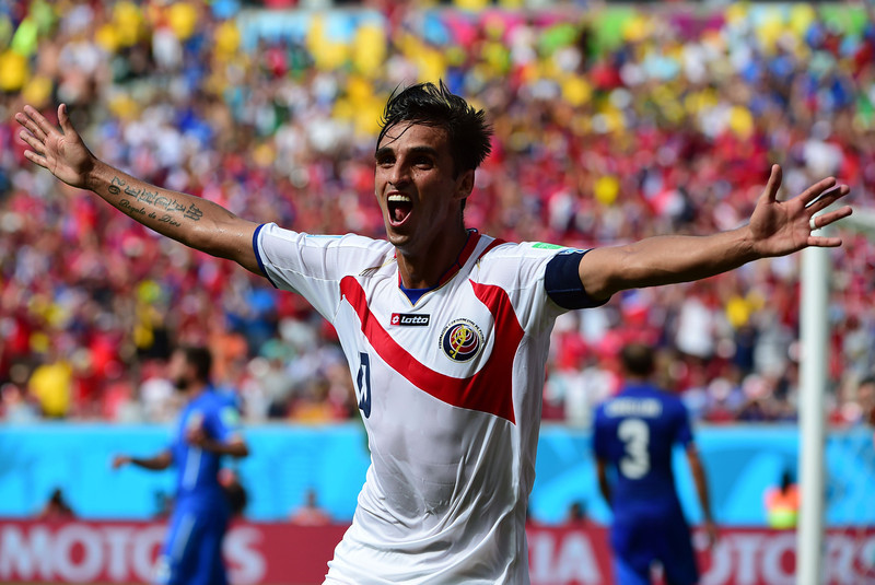. Costa Rica\'s forward Bryan Ruiz celebrates after scoring his team\'s first goal during a Group D match between Italy and Costa Rica at the Pernambuco Arena in Recife during the 2014 FIFA World Cup on June 20, 2014.  (RONALDO SCHEMIDT/AFP/Getty Images)