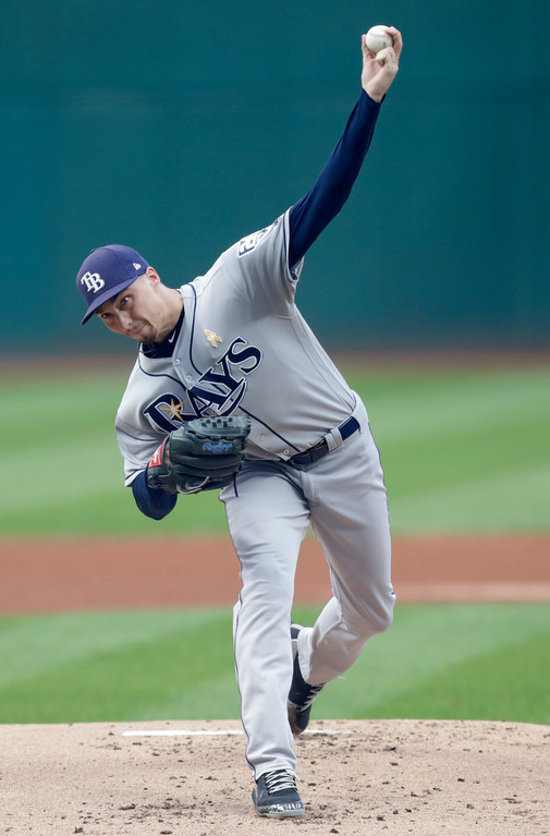 . Tampa Bay Rays starting pitcher Blake Snell delivers in the first inning of a baseball game against the Cleveland Indians, Saturday, Sept. 1, 2018, in Cleveland. (AP Photo/Tony Dejak)