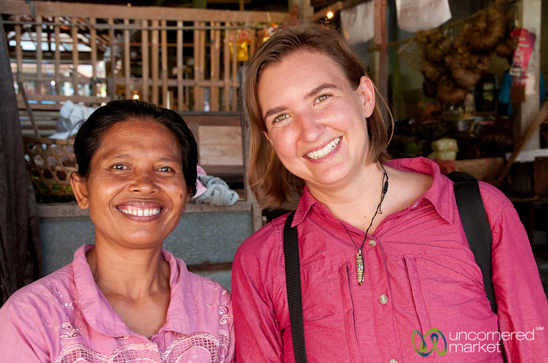 Audrey with a Market Vendor - Semarapura, Bali