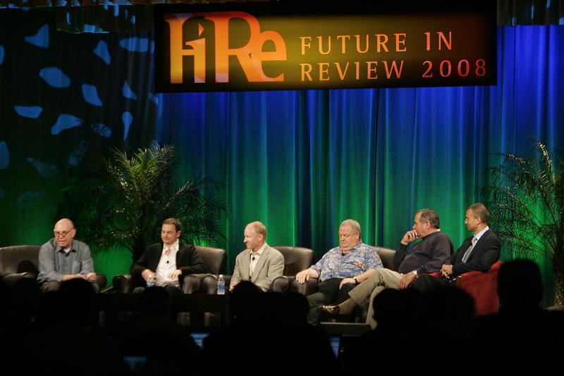 """FiReStarters I"": (L-R) Moderator Steve Evans, BBC; Mark Turrell, Imaginatik; Tim Johnson, High Throughput Genomics; Bill Spencer, Hawaii Oceanic Technology; Mike Gering, Global Solar Energy; and Roy Schoenberg, American Well Systems"