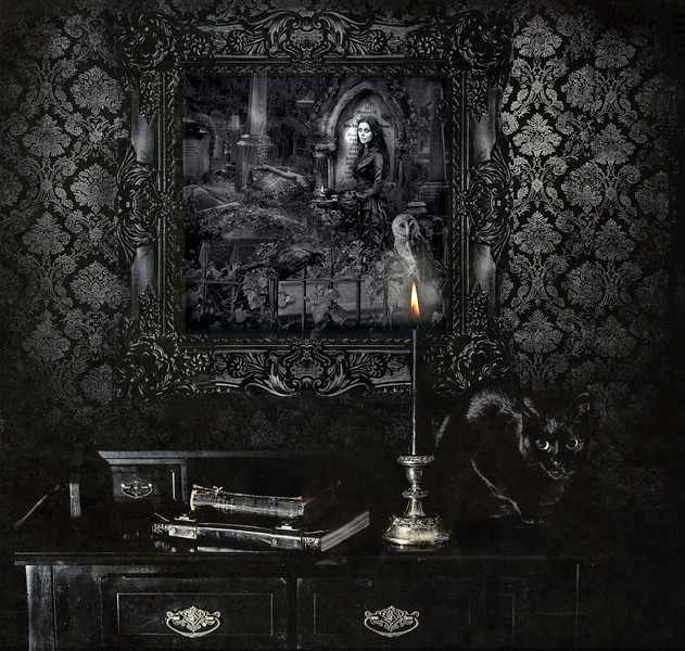 """""""One Flame"""" framed in a thick ornate black frame"""