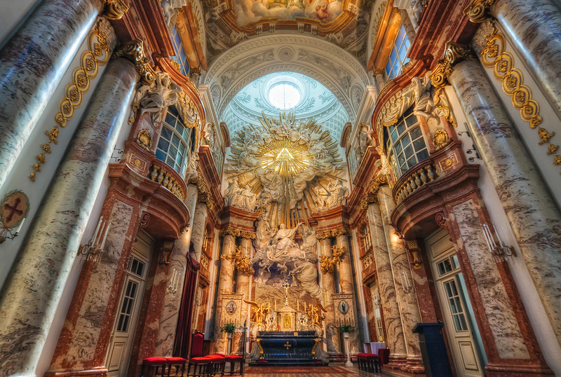 Inside St. Charles's Church in Vienna  And another beautiful church in HDR. This time the St. Charles's Church in Vienna. I'm very happy with how sharp it is, as it was taken only handheld and at a higher iso setting.  HDR from three shots, taken with Canon 450D with Sigma 10-20mm lens, handheld.