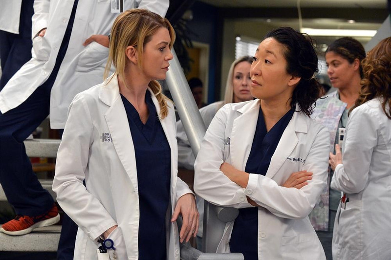 ". GREY\'S ANATOMY - ""You\'ve Got To Hide Your Love Away\"" - After an anonymous complaint is issued by one of their own, the hospital implements a non-fraternizing policy causing the couples to panic. Meanwhile, Emma and Owen talk about the future, Cristina and Meredith enjoy a little girl time and Richard enlists the residents to help research a rare cancer case, on \""Grey\'s Anatomy,\"" THURSDAY, MARCH 6 (9:00-10:00 p.m., ET) on the ABC Television Network. (ABC/Eric McCandless) ELLEN POMPEO, SANDRA OH"