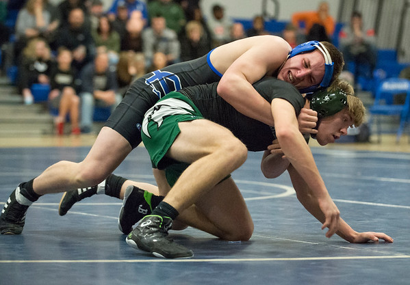 01/02/19 Wesley Bunnell | StaffrrPlainville wrestling was narrowly defeated at home by Maloney on Thursday night. Kaleb Karona vs Robert Plomberg in the 170lb match.