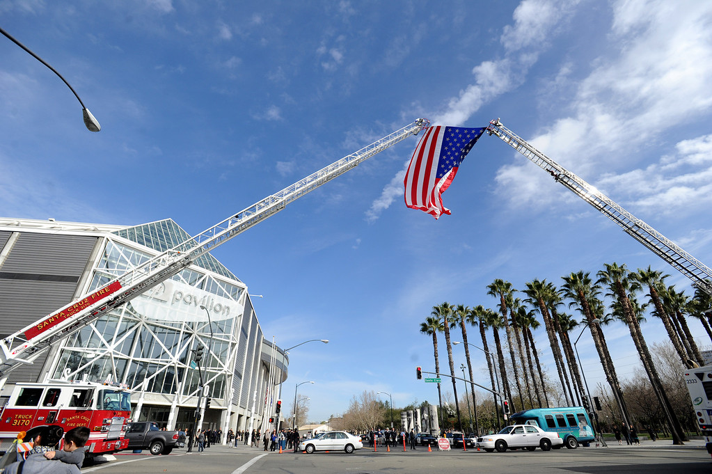 . Preparations are made at the HP Pavilion in San Jose, Calif., on Thursday, March 7, 2013. Thousands are expected at the pavilion to mourn the loss of the two Santa Cruz police officers who lost their their lives in the line of duty on Feb. 26. (Dan Honda/Bay Area News Group)