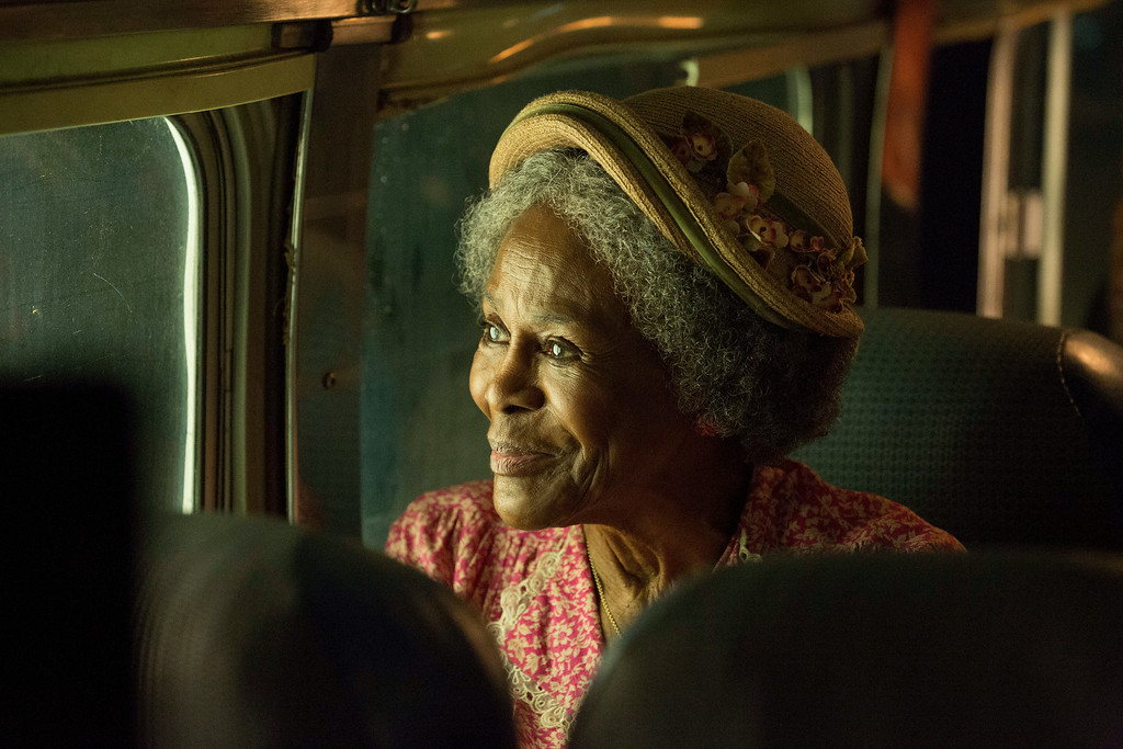 """. This image released by Lifetime shows Cicely Tyson in a scene from \""""The Trip to Bountiful.\"""" Tyson was nominated for an Emmy Award for best actress in a miniseries or movie on Thursday, July 10, 2014. The 66th Primetime Emmy Awards will be presented Aug. 25 at the Nokia Theatre in Los Angeles. (AP Photo/Lifetime, Bob Mahoney)"""