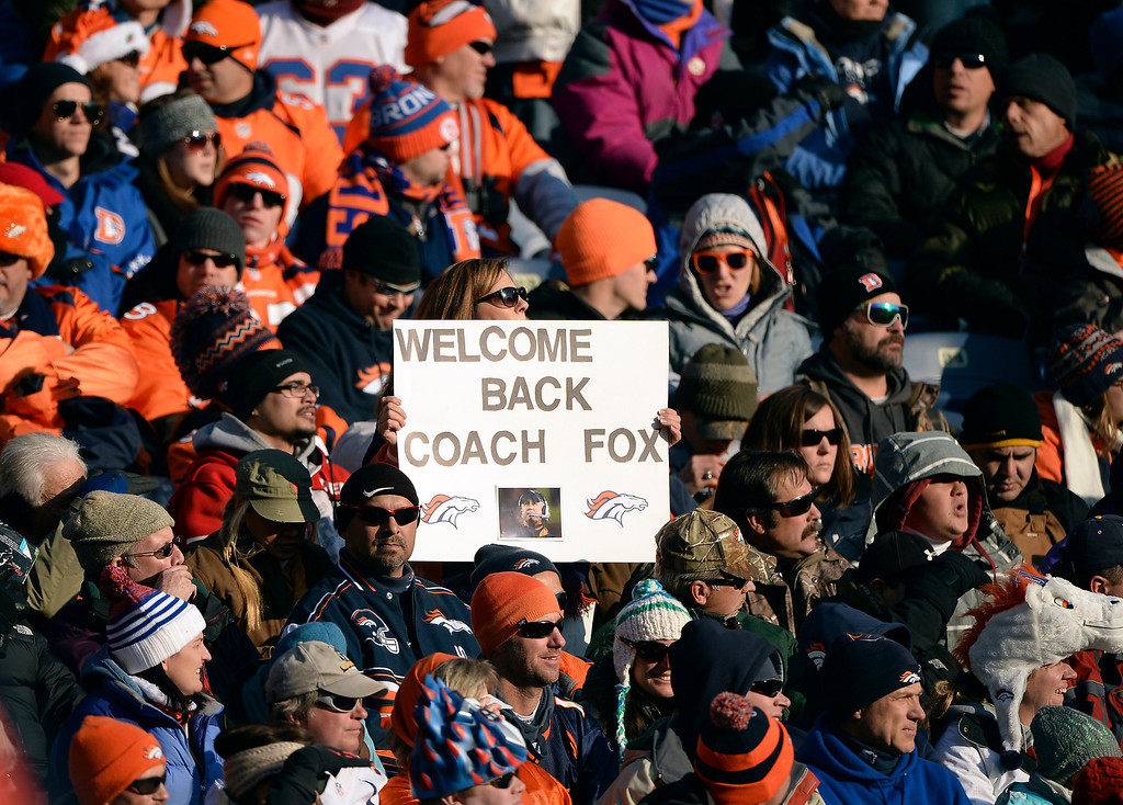 . Broncos fans show their support for Denver coach John Fox.  (Photo by Hyoung Chang/The Denver Post)