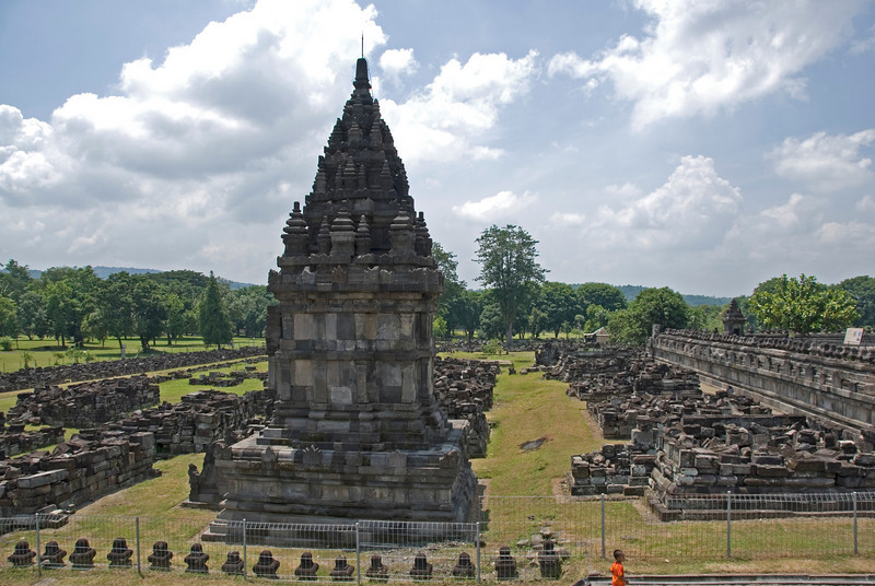 Shot of the tower at Prambanan surrounded by temple ruins