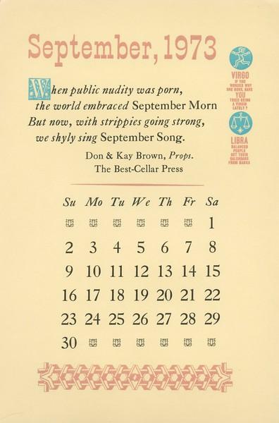 September, 1973, Best-Cellar Press