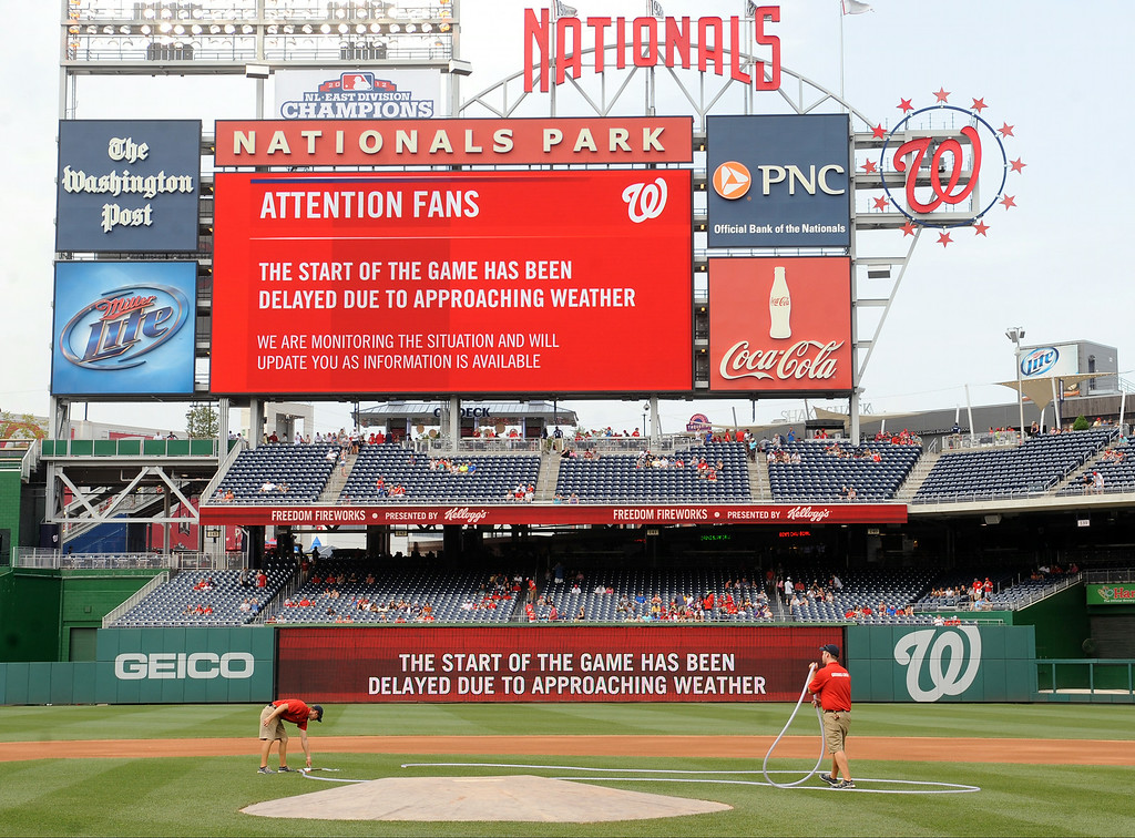 . WASHINGTON, DC - JULY 2:  The Nationals scoreboard explains the game is delayed due to severe weather before a baseball between the Colorado Rockies and the Washington Nationals on July 2, 2014 at Nationals Park in Washington, DC.  (Photo by Mitchell Layton/Getty Images)