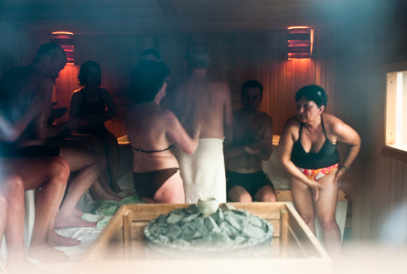 March , 2012, Budapest, Hungary -  Tourists and locals rub honey during a special day of sauna with the essential oils at Gellert Bath.    Budapest is known as the SPA Capital of the world.  Nearly 120 hot springs feed the city's historic thermal baths (Furdo) and approximately 70 million litres of water used every day.