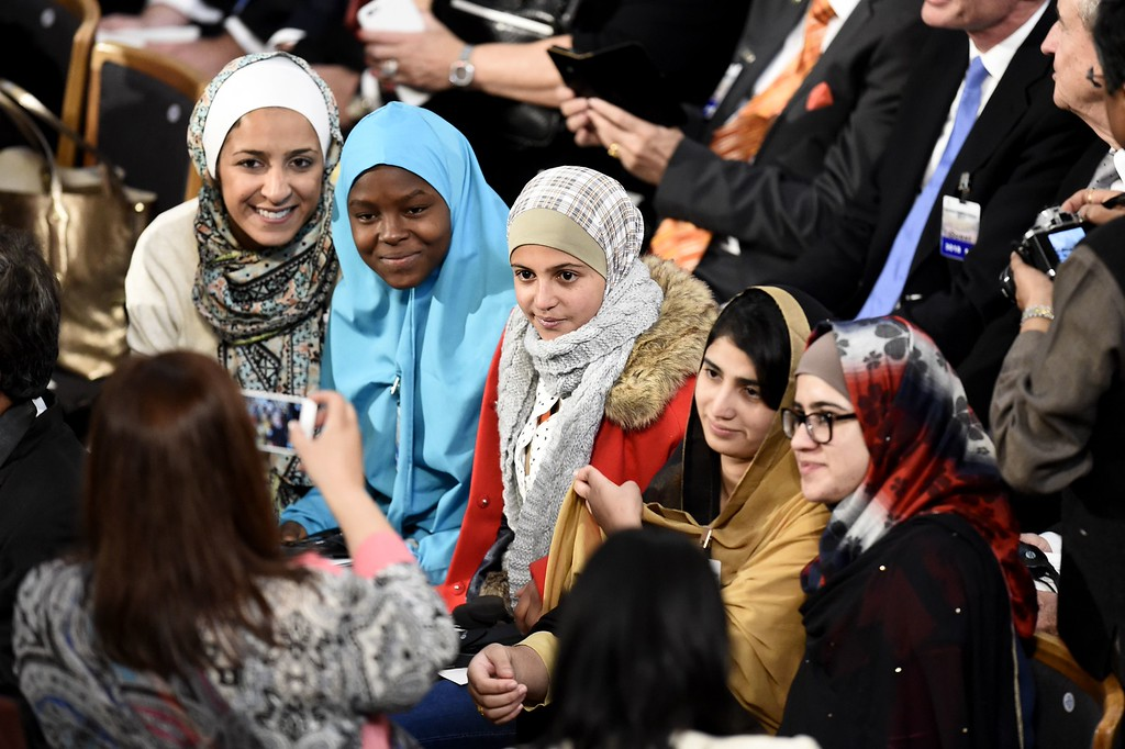 . Young women activists (2ndLtoR) Nigerian Amina Yusuf, Syrian Mezon Almellehan, Pakistani Shazia Ramzan and Pakistani Kainat Riaz pose for a photo as they wait for the start of the Nobel Peace Prize awarding ceremony at the City Hall in Oslo on December 10, 2014.  The 17-year-old Pakistani girls\' education activist Malala Yousafzai known as Malala shares the 2014 peace prize with the Indian campaigner Kailash Satyarthi, 60, who has fought for 35 years to free thousands of children from virtual slave labour.  AFP PHOTO / ODD ANDERSENODD ANDERSEN/AFP/Getty Images