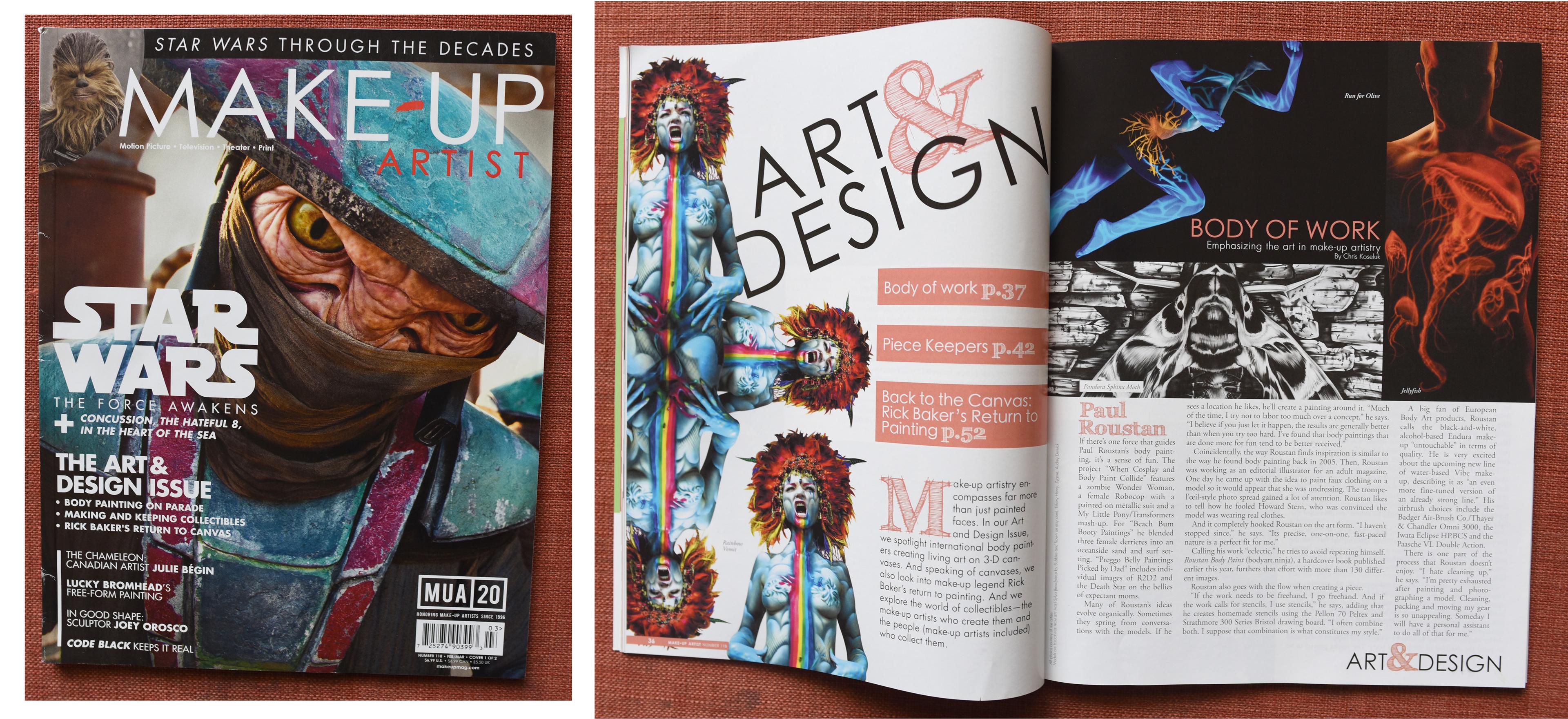 Paul Roustan featured in Makeup artist magazine