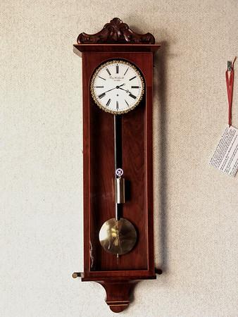 VR-284  - Biedermeier period week-running Viennese 3-lite timepiece with Milk-Glass Dial by Franz Wohlfurth in Linz.