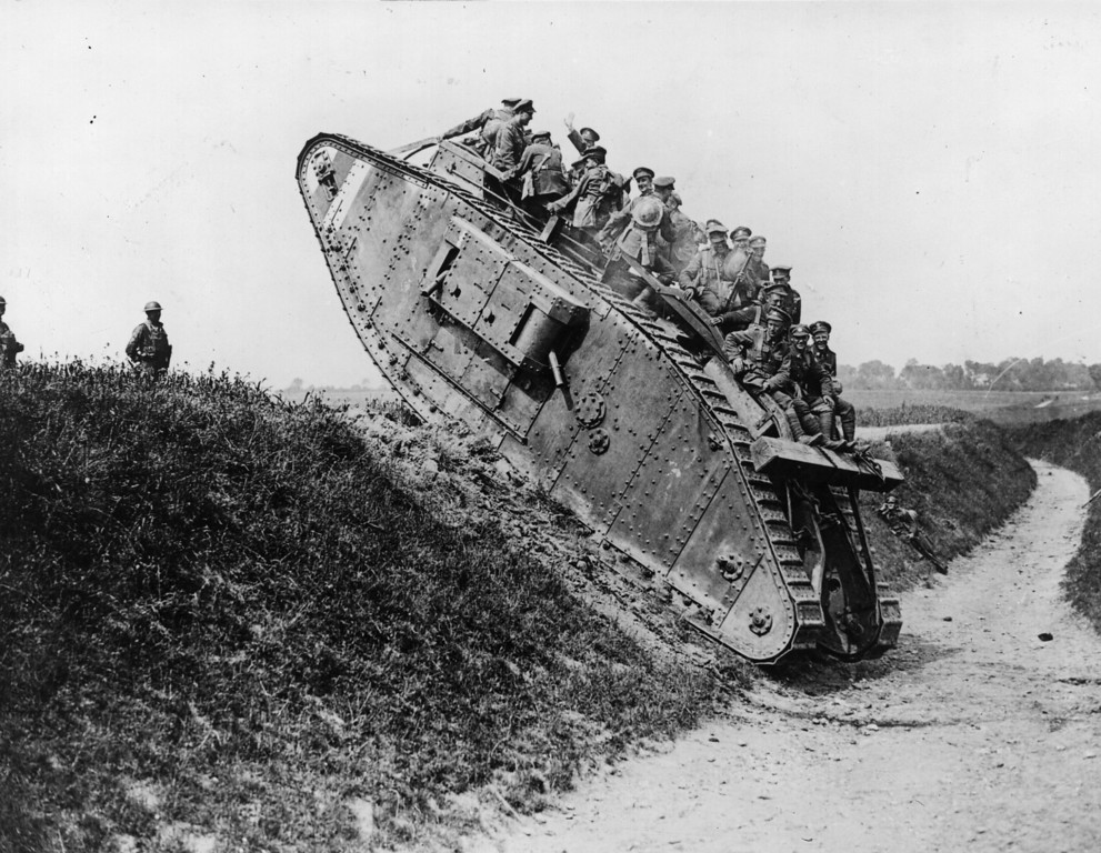 . British soldiers enjoy a jaunt on a British Mark IV tank.   (Photo by Hulton Archive/Getty Images)