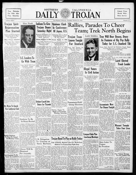 Daily Trojan, Vol. 26, No. 25, October 25, 1934