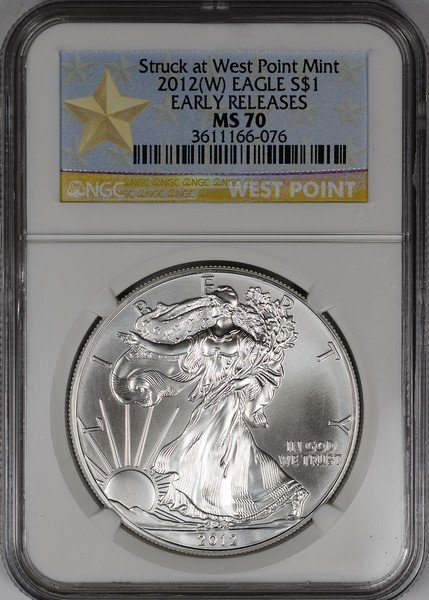 2012 W BULLION COIN - SILVER EAGLE NGC MS70 Obverse