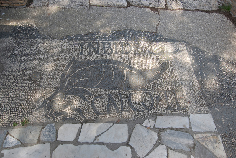 Mosaic floor at the baths in Ostia Antica, Italy