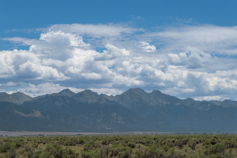 Sangre De Cristos on drive back, four 14ers in the image