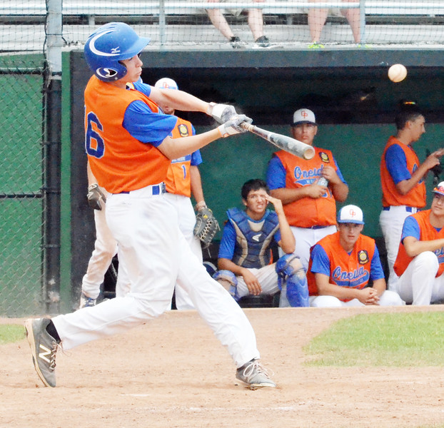 KYLE MENNIG - ONEIDA DAILY DISPATCH Oneida Post's Danny Myatt connects for a single against Vestal Post during the New York State Junior American Legion Baseball championship game in Utica on Saturday, July 30, 2016.