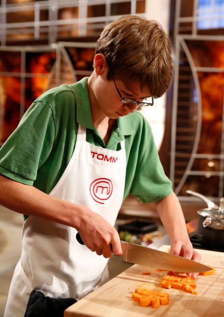 . Contestant Tommy on MASTERCHEF JUNIOR airing Friday, Oct. 4 (8:00-9:00 PM ET/PT) on FOX. CR: Greg Gayne. © 2103 Copyright / FOX.