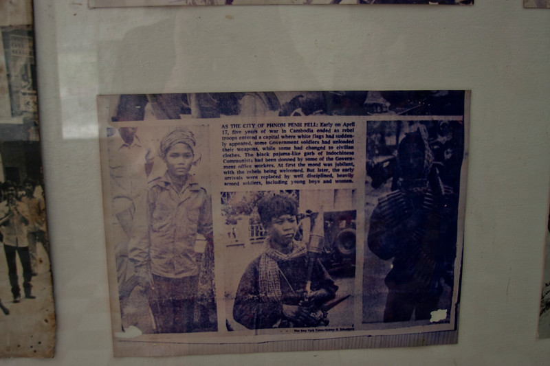The Tuol Sleng had rooms of photos and some newspaper clippings.
