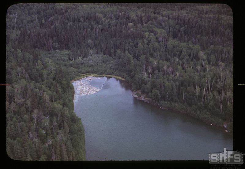 View of lumbering operation from the air. Beaver Lake. 06/21/1946