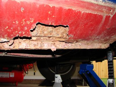 Blue 64 - Major Rust Damage Before Repair