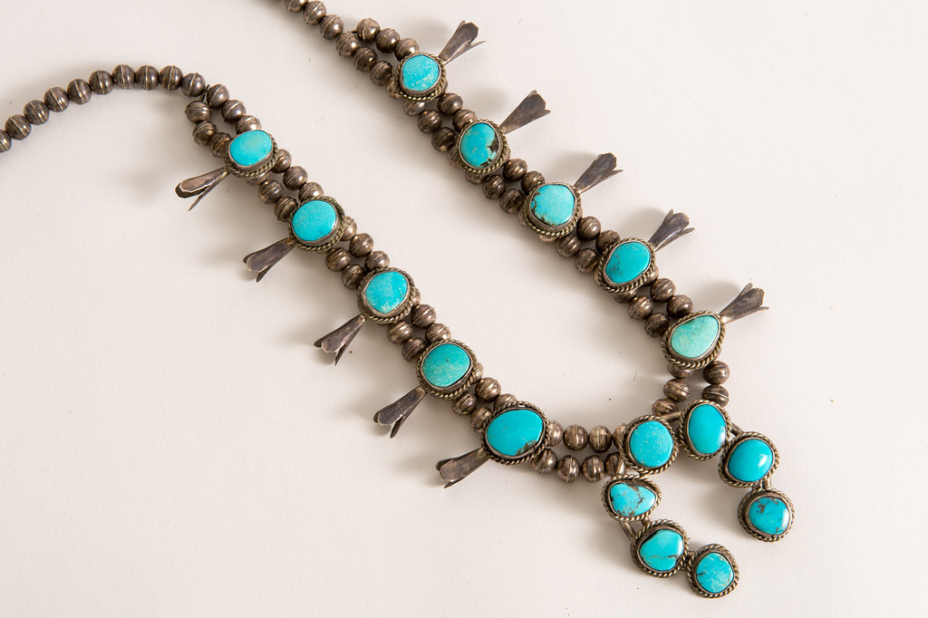 . Vintage turquoise squash blossom necklace for sale on Hunters Alley new website. Hunters Alley launches its new resale website January 22 with a selection of pre-owned furnishings and art starting at $25. (Photo by Michael Owen Baker/L.A. Daily News)