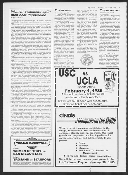 Daily Trojan, Vol. 98, No. 12, January 28, 1985