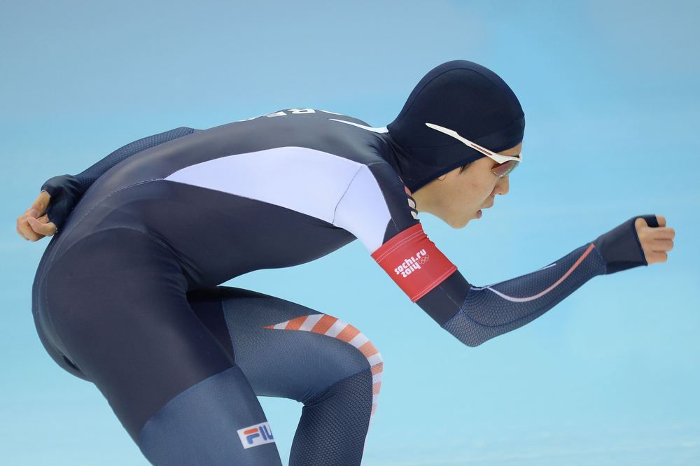 . South Korea\'s Kim Cheol-Min competes in the Men\'s Speed Skating 5000m at the Adler Arena during the 2014 Sochi Winter Olympics on February 8, 2014. (JUNG YEON-JE/AFP/Getty Images)