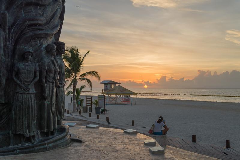 Portal Maya (El Cierre del Ciclo de la Cuenta Larga Maya) by José Arturo Tavares... at sunrise - Playa del Carmen, Mexico - August 15, 2014