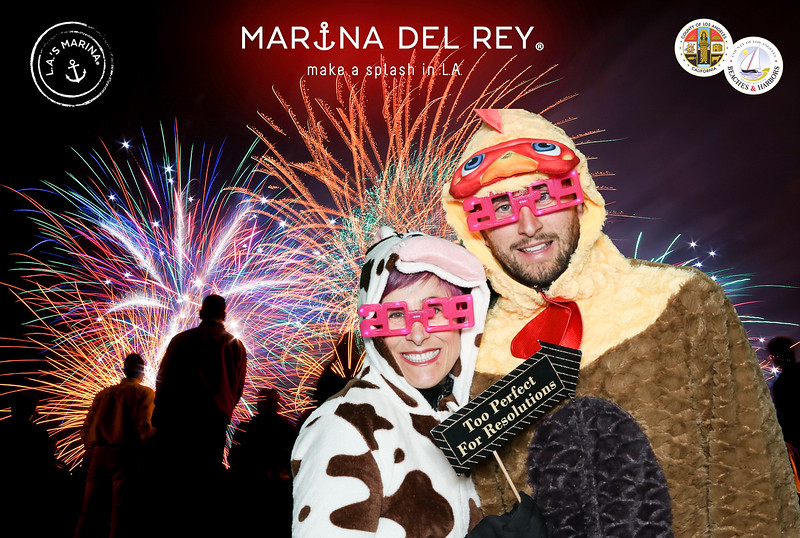 Marina del Rey's New Year's Eve Fireworks & Glow Party.  #ilovemdr Photo booth by VenicePaparazzi.com